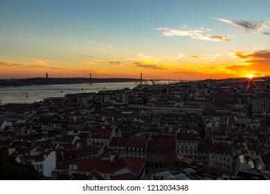 6c0693e64 Lisbon sunset timelapse from Castel Jorge. Filmed from the Castelo de Sao  Jorge esplanade looking