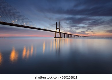 Lisbon and Vasco da Gama Bridge are an amazing tourist destination because their urban landscapes and its monuments. The Bridge crosses the Tagus River, and is one of the longest bridges in the world.