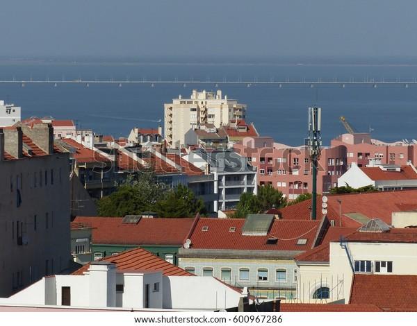 Lisbon / Vasco da Gama bridge / picture showing the Vasco da Gamma bridge in Lisbon, taken from the St. Georges Castle. August 2016