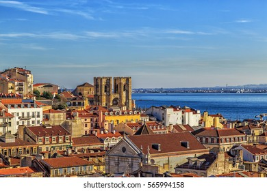 Lisbon view with the cathedral de Lisboa or Igreja de Santa Maria Maior.