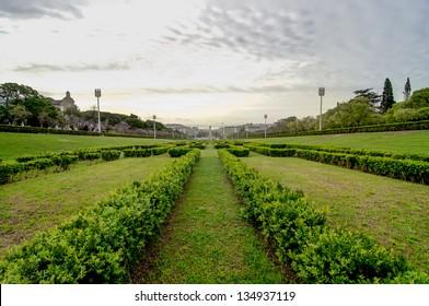 Lisbon viewed from Eduardo VII Park, main garden, Tagus river on the horizon.