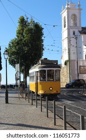 Lisbon yellow tram, Portugal