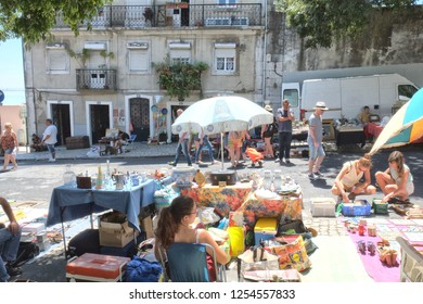 Lisbon,Portugal - 08.02.2016: The Feira da Ladra is a twice weekly market, which is held within the Alfama district of Lisbon. The name translates into the dubious name of Market of the Female Thieves