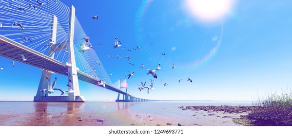 Lisbon,Portugal. Colorful street photography. Scenic landscape and tourism.Vasco da Gama bridge over the Tagus river at sunset with sun and clouds.
