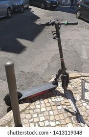 Lisbon/Portugal - June 1, 2019: eletric scooter of Lisbon for rent