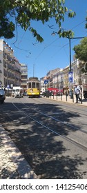 Lisbon/Portugal - May 31, 2019: eletric yellow tram at Graça street