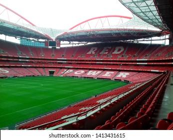 Lisbon/Portugal - November 11, 2018: Estadio da Luz (Stadium of Light) red light, home stadium for the S.L. Benfica.