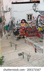 LISBON,PORTUGAL - NOVEMBER 18:Graffiti of traditional portuguese fado on the street of Lisbon on November 18, 2013.Fado is a music genre which can be traced to the 1820s in Portugal.
