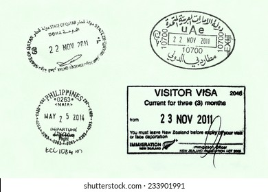 LISBON/PORTUGAL - NOVEMBER 25:  Various travel stamps on a European passport on November 25th 2014. Thousands of business men travel the world to expand their business