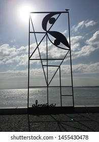 Lisbon/Portugal – October 23, 2018: Monument in honour of Portuguese artist Jose Sobral de Almada Negreiros. Installed in 2014 in Lisbon at waterfront of Tagus river.