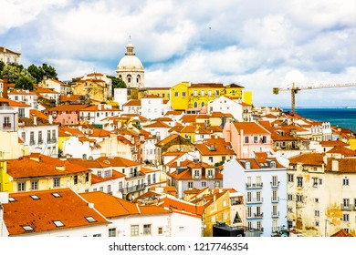 Lisbon,Portugal-07.21.2018:Lisbon cityscape, view of the old town Alfama, Portugal, panorama