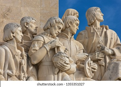Lisbon,Portugal-12 17 2014:Figures representing great people of the Age of Exploration included monarchs, explorers artists, on the Monument to the Discoveries (Padrão dos Descobrimentos) in Lisbon.