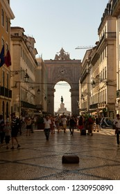 Lisbon,Portugal-August 30, 2018: Streets of Lisbon and the tourists walks in the historic places of the city.