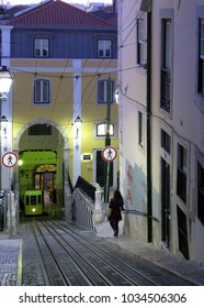 Lisbon's Gloria funicular classified in Bairro Alto in Lisbon, Portugal.