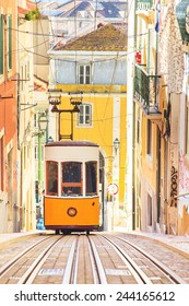 Lisbon's Gloria funicular classified in Bairro Alto in Lisbon, Portugal