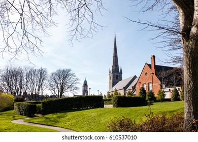 Lisburn, County Antrim, Northern Ireland - 27 March, 2017: Lisburn Cathedral from Castle Gardens