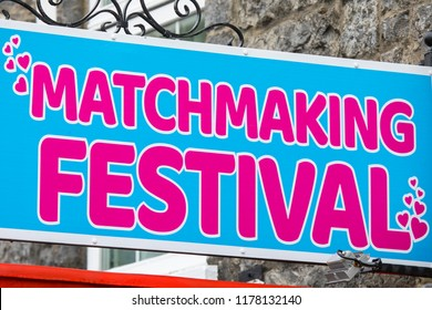 Lisdoonvarna, Republic of Ireland - August 19th 2018: A sign promoting the famous annual Matchmaking Festival in the spa town of Lisdoonvarna in Ireland.