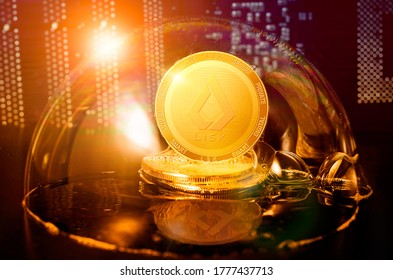 LISK in a soap bubble. Dangers and risks of investing to lisk LSK cryptocurrency. Speculation, drop, down