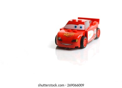 Liskeard, United Kingdom, 13 April 2015, A Studio shot of Lightning McQueen from the lego collection, Lego is a popular interlocking brick system collected by children and adults.