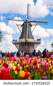 LISSE, NETHERLANDS - APRIL 14, 2019 :: Blooming colorful tulips flowerbed in public flower garden with windmill. Popular tourist site in Netherlands