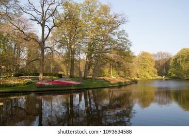 Lisse, Netherlands - April 19, 2018: Keukenhof park, Netherlands. Flower bed of colourful tulips in spring. Colorful tulips in the Keukenhof park