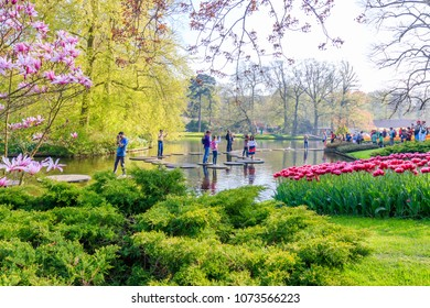 Lisse, Netherlands - April 20, 2018: People in Keukenhof Garden in Holland
