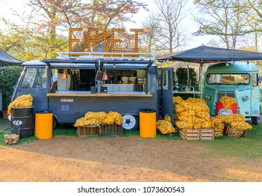 Lisse, Netherlands - April 20, 2018: Potato Fries Truck in Keukenhof