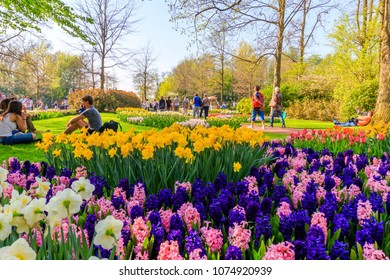 Lisse, Netherlands - April 20, 2018: People at Keukenhof On a Sunny Day