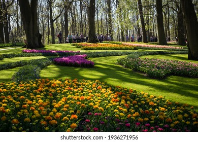 Lisse, Netherlands - April 20 2018. people walk among the flowers in Keukenhof Park