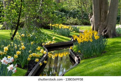Lisse, Netherlands. April 2019. Daffodils and narcissi next to the water at Keukenhof Gardens, Lisse, South Holland. Keukenhof is known as the Garden of Europe.
