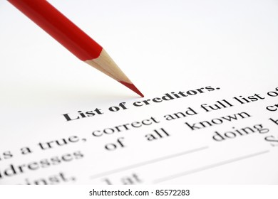 List of creditors