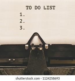 List of To Do Tasks, written on paper in vintage typewriter