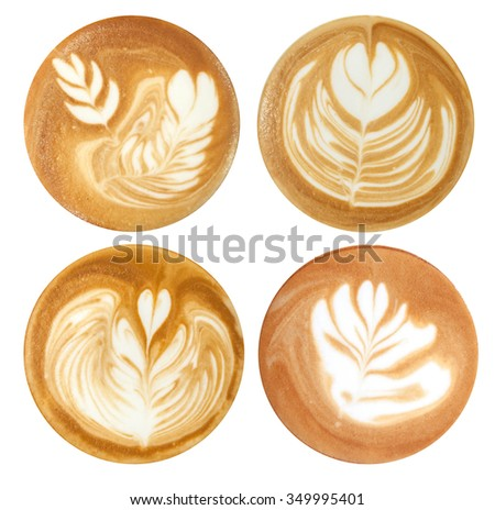 list four latte art styles white stock photo (edit now) 349995401