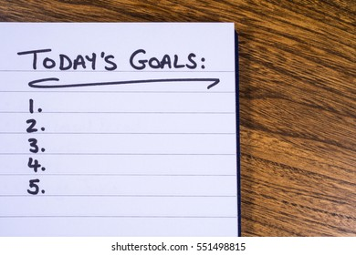 A list of goals to be achieved today.
