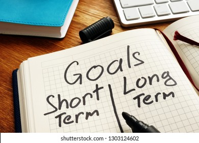 List of Goals with short term and long term.