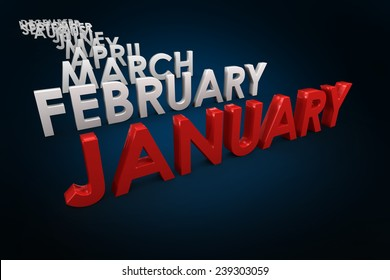 List of months against blue background with vignette