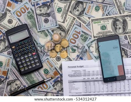 list personal budget 2017 money calculator stock photo edit now