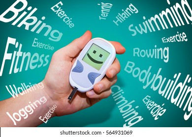List of positive health habits that fight diabetes surrounding glucometer with happy face icon illustrating health improvement