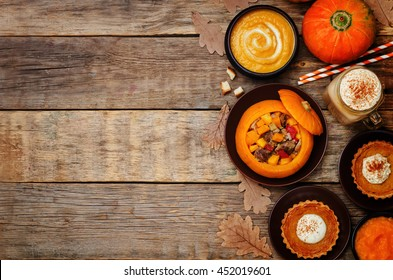 List of pumpkin dishes. Pumpkin Latte; Pumpkin stuffed with meat and vegetables; pumpkin tartlet; pumpkin soup; pumpkin puree. toning. selective focus