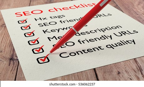 List with SEO characteristics and a red pen ticking the items 3D illustration