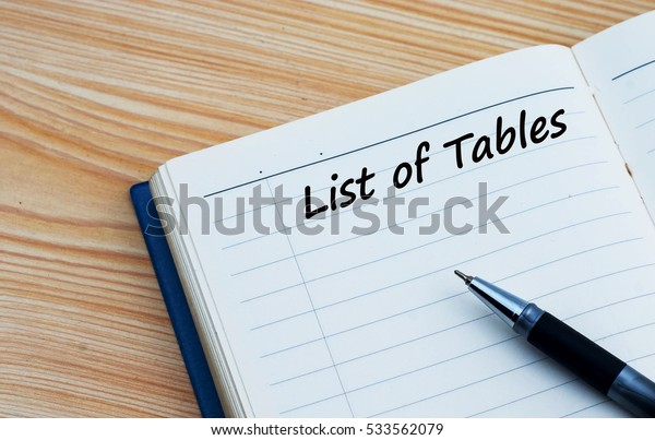 List of tables text written on a diary