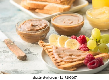 list toasted nut butters : almond, peanut butter, marzipan. Toast bread with spread