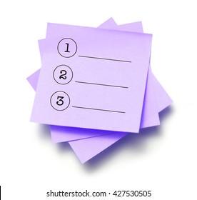 List written on a note