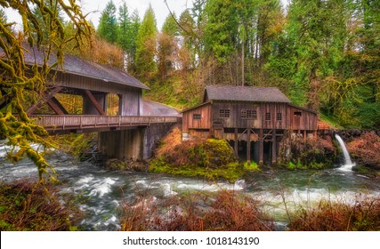 Listed on the national Register of Historic Places, Cedar Creek Grist Mill is a water-powered mill.  It was built in 1876 and has been structurally restored to its current condition. A historical cov