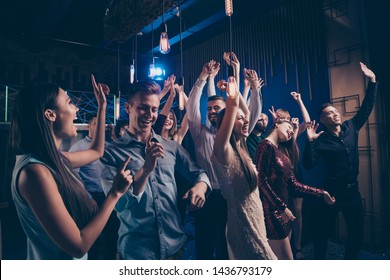Listen favorite singer band concert. Millennial charming people free time  enjoy noise loud cheerful exciteemnt indoors wear dress suit lights