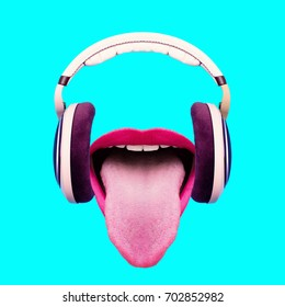 Listen to funny music. Headphones and crazy mouth. Minimal art design