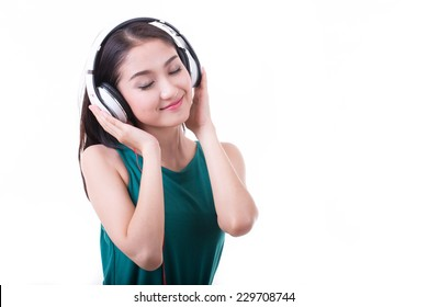 Listen musics and enjoy her lifestyle with white background