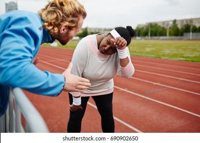 Listening to motivation of trainer