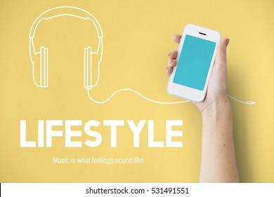 Listening to music headphones graphic