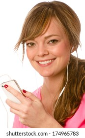 Listening To Music - This is a photo of a cute young woman listening to some music on her ipod. Shot on an isolated white background with a shallow depth of field.